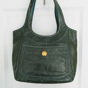Coach Ergo Green Patent Leather Satchel Tote Bag